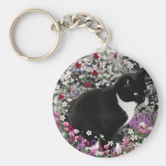 Freckles in Flowers II - Tuxedo Cat Key Ring
