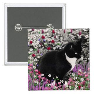 Freckles in Flowers II - Tuxedo Kitty Cat 15 Cm Square Badge