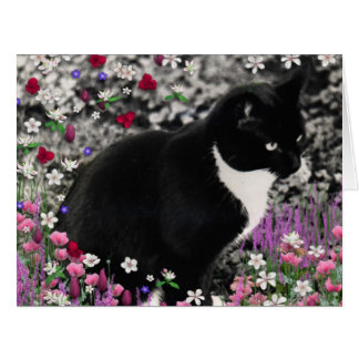 Freckles in Flowers II, Tuxedo Kitty Cat Big Greeting Card