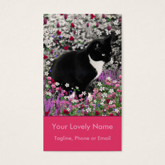 Freckles in Flowers II - Tuxedo Kitty Cat Business Card