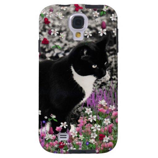 Freckles in Flowers II - Tuxedo Kitty Cat Galaxy S4 Case