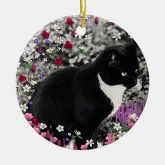 Freckles in Flowers II - Tuxedo Kitty Cat Christmas Ornament