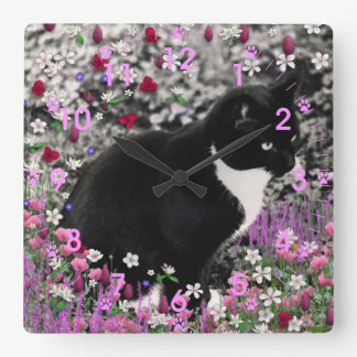 Freckles in Flowers II - Tuxedo Kitty Cat Square Wall Clocks