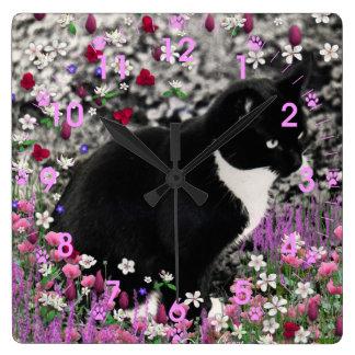 Freckles in Flowers II - Tuxedo Kitty Cat Clock