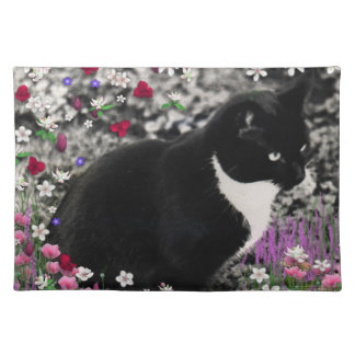Freckles in Flowers II - Tuxedo Kitty Cat Place Mats