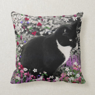 Freckles in Flowers II - Tuxedo Kitty Cat Throw Pillows