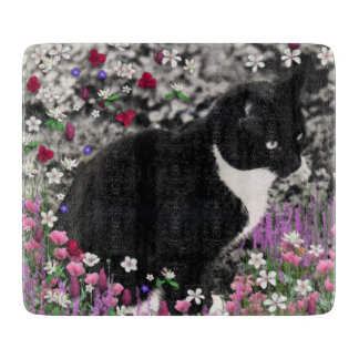 Freckles in Flowers II, Tuxedo Kitty Cat Cutting Board