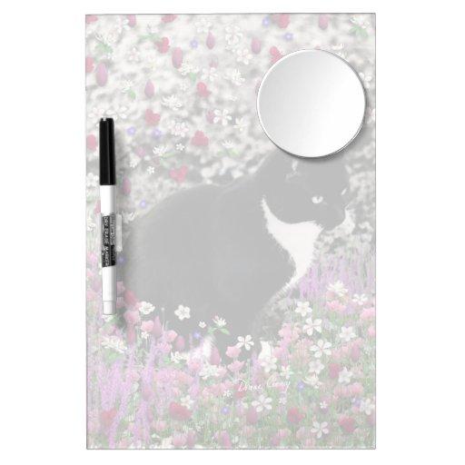 Freckles in Flowers II - Tuxedo Kitty Cat Dry Erase White Board