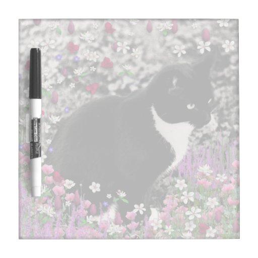 Freckles in Flowers II, Tuxedo Kitty Cat Dry Erase Whiteboards