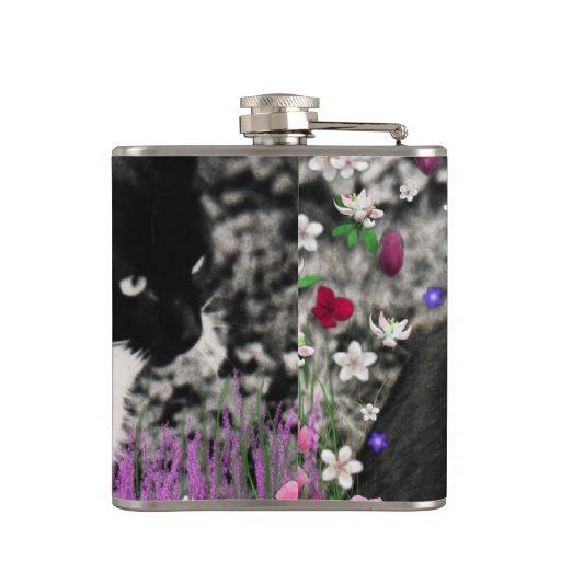 Freckles in Flowers II, Tuxedo Kitty Cat Hip Flasks