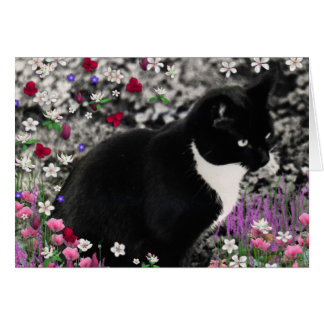 Freckles in Flowers II - Tuxedo Kitty Cat Greeting Card