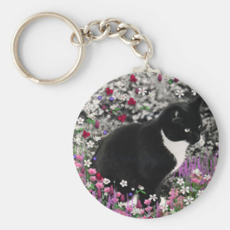 Freckles in Flowers II - Tuxedo Kitty Cat Basic Round Button Key Ring