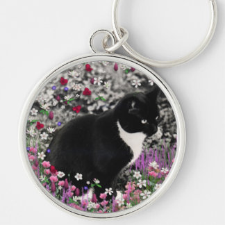 Freckles in Flowers II - Tuxedo Kitty Cat Silver-Colored Round Key Ring