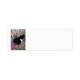 Freckles in Flowers II - Tuxedo Kitty Cat Return Address Label