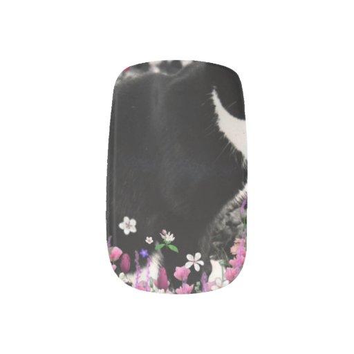 Freckles in Flowers II, Tuxedo Kitty Cat Minx ® Nail Wraps
