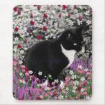 Freckles in Flowers II - Tuxedo Kitty Cat Mouse Pad