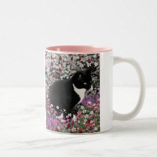 Freckles in Flowers II - Tuxedo Kitty Cat Two-Tone Mug