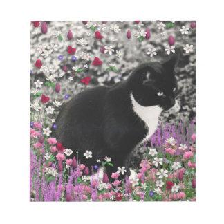 Freckles in Flowers II - Tuxedo Kitty Cat Notepad