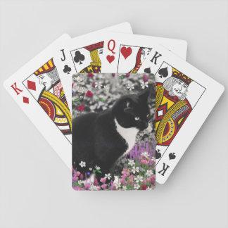 Freckles in Flowers II Tuxedo Kitty Cat Deck Of Cards