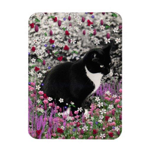 Freckles in Flowers II - Tuxedo Kitty Cat Rectangular Magnet