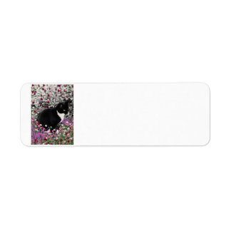 Freckles in Flowers II - Tuxedo Kitty Cat Return Address Label