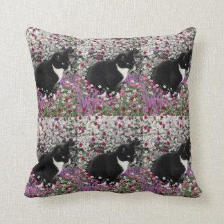 Freckles in Flowers II - Tuxedo Kitty Cat Throw Cushion
