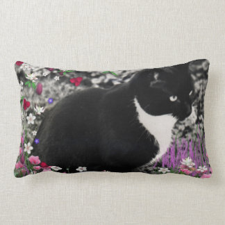 Freckles in Flowers II, Tuxedo Kitty Cat Throw Cushions