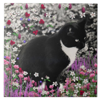 Freckles in Flowers II - Tuxedo Kitty Cat Large Square Tile
