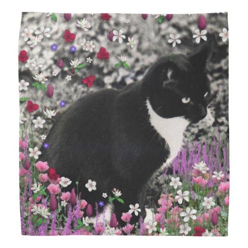 Freckles in Flowers II, Tuxedo Kitty Cat Do-rag