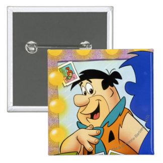 Fred Flintstone Look In Mirror 15 Cm Square Badge