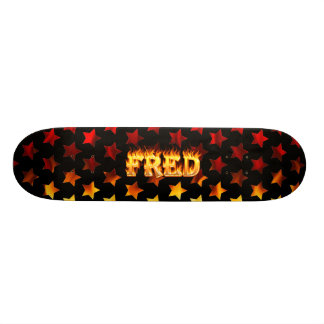 Fred skateboard fire and flames design.