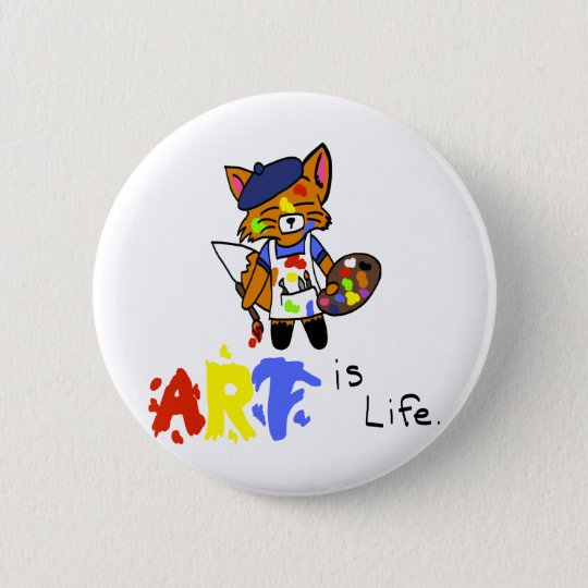 Fred the Fox- Artist 6 Cm Round Badge