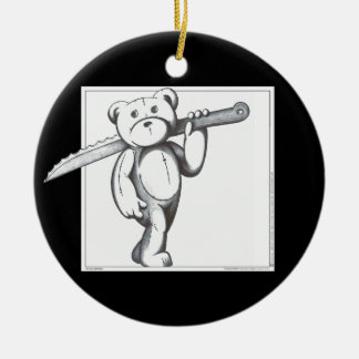 Freddie Bear Double-Sided Ceramic Round Christmas Ornament