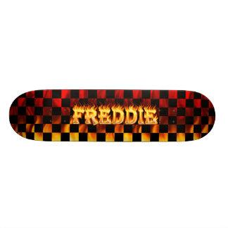 Freddie skateboard fire and flames design.