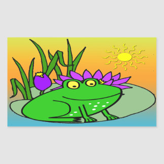 Freddy the Frog - on a Lilly Pad Cute Sticker