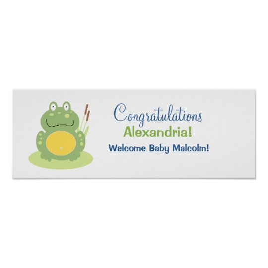 Freddy the Green Frog Baby Shower Banner Poster
