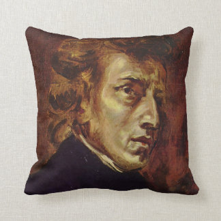 Frederic Chopin Portrait by Eugene Delacroix Throw Cushions