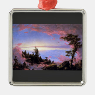 Frederic Edwin Church - Above the clouds at sunris Silver-Colored Square Decoration