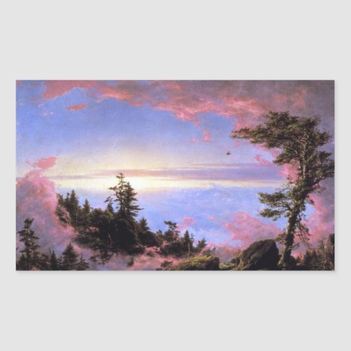 Frederic Edwin Church - Above the clouds at sunris Rectangular Stickers