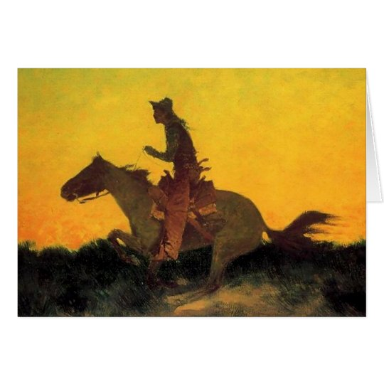 "Frederic Remington Cowboy Art ""Against The Sun"" Card"