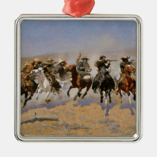 "Frederic Remington Painting ""Dash For The Timber"" Silver-Colored Square Decoration"