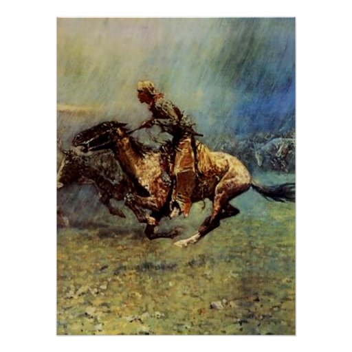 """Frederic Remington Western Art """"The Stampede"""" Poster"""