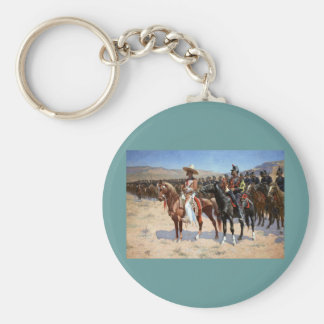 Frederic Remington's The Mexican Major (1889) Basic Round Button Key Ring