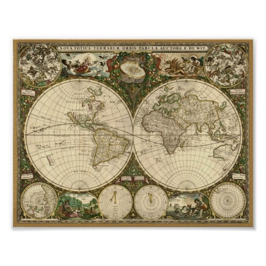 Frederick de Wit 1660 Map of the World