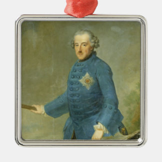 Frederick II the Great of Prussia, c.1770 Silver-Colored Square Decoration