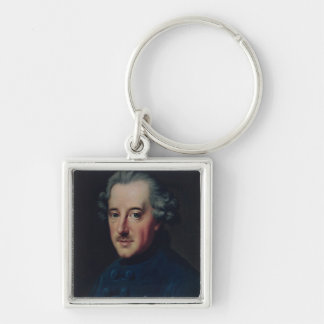 Frederick II the Great Silver-Colored Square Key Ring