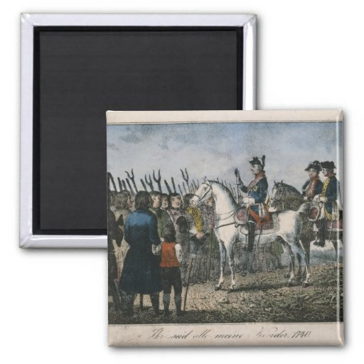 Frederick the Great with the farmers Refrigerator Magnets