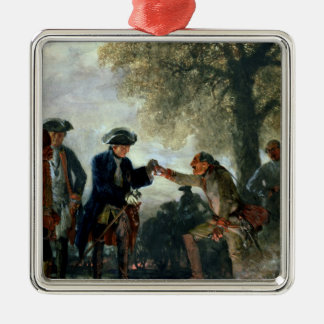 Frederick the Great  with Zieten at the Camp Silver-Colored Square Decoration