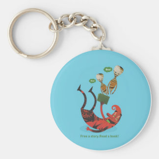 Free a story - read a book! basic round button key ring