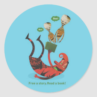 Free a story - read a book round sticker